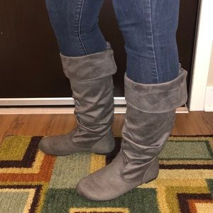 SO Grey Suede Tall Boots